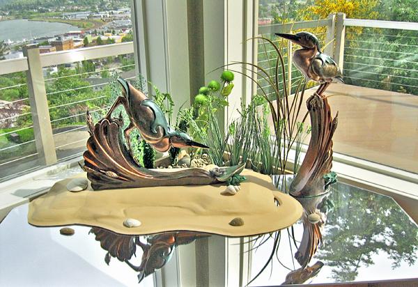 little green heron bronze sculpture