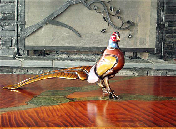 ringneck pheasant game bird patina bronze