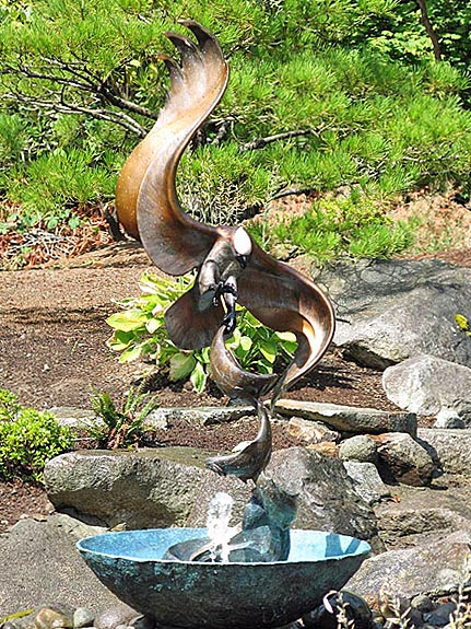 osprey, fish hawk, bronze fountain sculpture