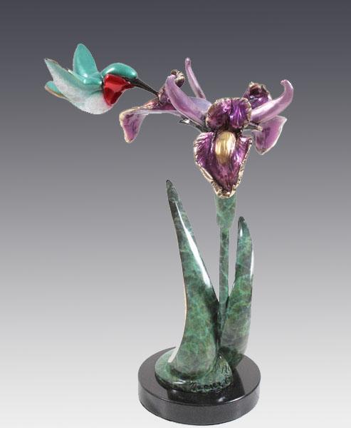red rufous hummingbird bronze sculpture iris art