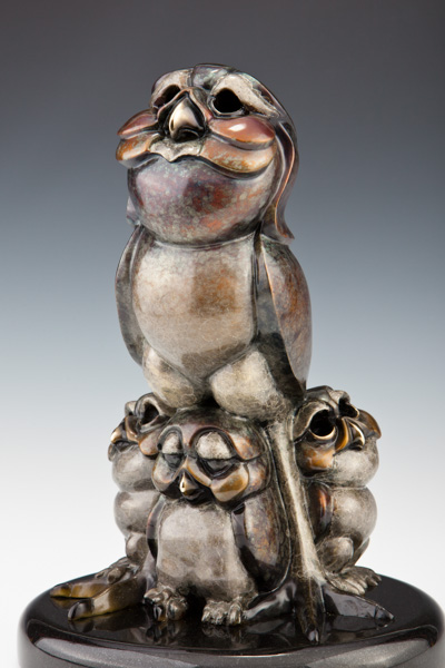 Burrowing Owl Bronze Sculpture, Clown Bird