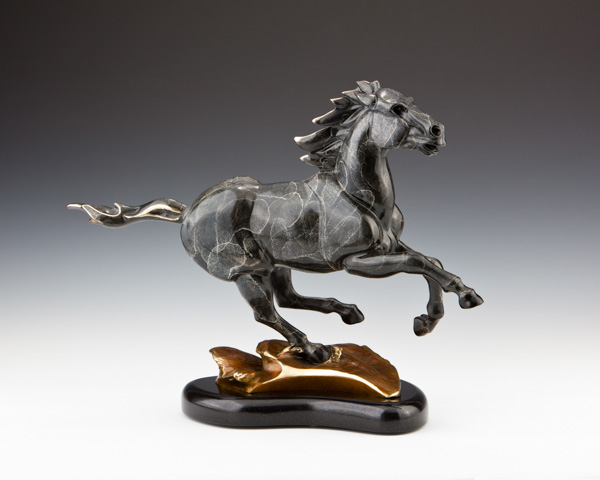 Black Night Horse, Mustang Bronze Sculpture, Wild Horse Stallion