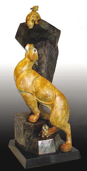 Mountain Lion Family, Cougar, Puma, Bronze Cougar